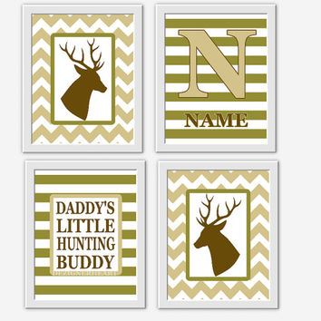 Baby BOY Nursery Wall Art Deer Antlers Green Brown Camo Monogram Daddys Hunting Buddy Baby Boy Decor Boy Bedroom Prints Hunt Rifles Racks
