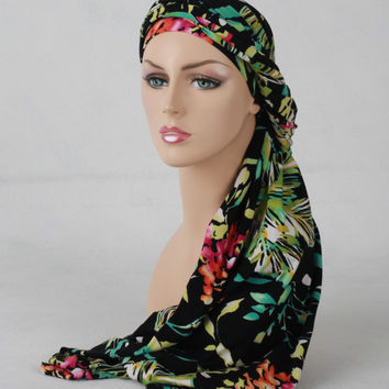 Floral Turban Chemo Hat Dreads Head Wrap Alopecia Scarf, One Piece Wrap