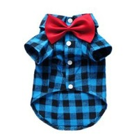Soft Casual Dog Plaid Shirt Gentle Dog Western Shirt Dog Clothes Dog Shirt + Dog Wedding Tie Free Shipping,Blue,L
