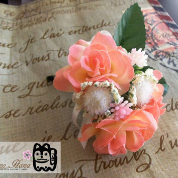 SUMMER SALE: Boutonniere . Corsage . Peach Roses . White Dandelion . Pink Accent Flower . Ivory Ribbon . Groom . Groomsmen . Wedding