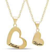 Mother Daughter Heart Necklace Set, 925 Silver, 14K Gold Plated Heart Necklaces