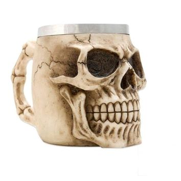 Hot Unique Stainless Steel Liner Creepy 3D Coffee Beer Milk Mug Cup Tankard Novelty for Halloween Decoration Gift