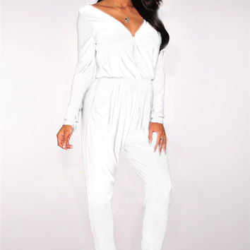 White Long Sleeve Front Zipper Jumpsuit