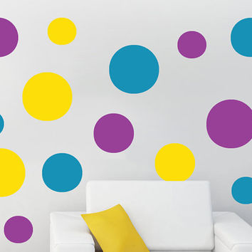 REUSBALE - Childrens Wall Polka Dots Nursery Kids Teens Playroom Vinyl Wall Sticker Baby Art Mural