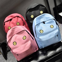 Canvas Emoji Backpack For Teenager Girls Smiley Shoulder Bag