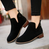 Fashion All-match Edgy Nude Color Short Boots