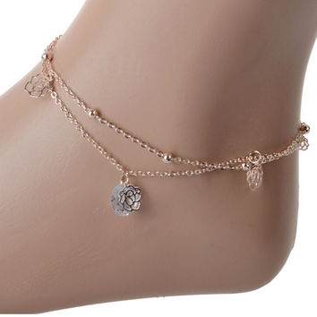 Sexy Gold Double Chain Hollow Rose Drop Anklet Bracelet Ankle Foot Jewelry Barefoot Beach Anklet