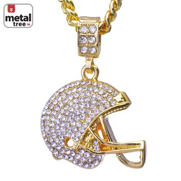 "Jewelry Kay style Men's 14K Gold Football Helmet Pendant 24"" Cuban Link Chain Necklace CPB 1049 G"
