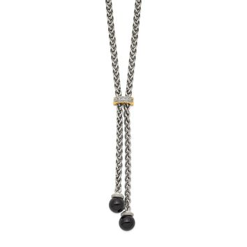 Sterling Silver Two Tone Silver And Gold Plated Sterling Silver w/Onyx & Diamond Lariat Necklace