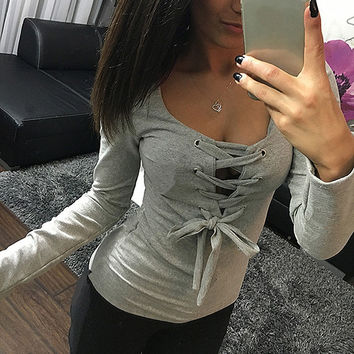 5 Colors 2017 New Sexy Bandage Lace Up Long-Sleeve Shirt Women Deep V T Shirts Spring Female Tops