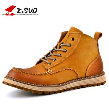 Z.Suo Brand 2017 Men's Casual Genuine Cow Leather Boots Man England Retro Tooling Cowboy Outdoor Casual High Top Shoes ZS16011