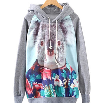 Grey Floral Koala Print Hoodie With Pockets