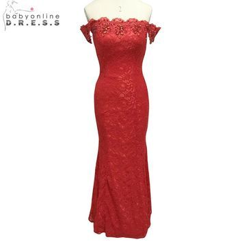 Hot Sale off the shoulder Cheap Mermaid Red Lace Long Bridesmaid Dresses 2015 Floor Length Wedding Party Gowns Under 50