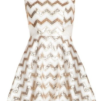 Chevron Shocker Dress | White Gold Sequin Party Dresses | Rickety Rack
