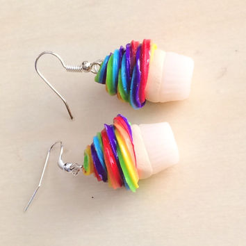 Polymer Clay Rainbow Cupcakes with Translucent Cup Earrings