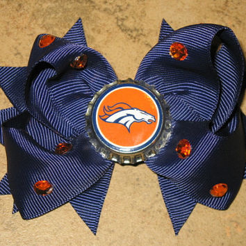 "NEW ""DENVER Broncos"" Pro Football Girls Ribbon Hair Bow Rhinestone Clip NFL Professional Football Bottlecap Hairbow Sports Team"