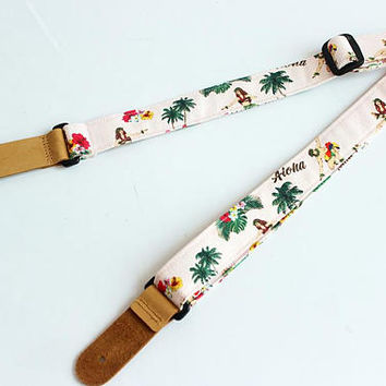 ukulele strap,ukulele accessories,ukulele bag,ukulele case,uke,soprano,hawaiian strap,hawaiian fabric,tropical,palm tree,hula p B