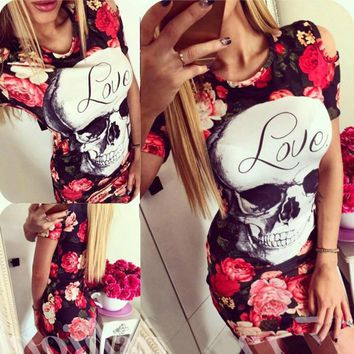 Summer 2017 ukraine new quick sell through the section of the skulls printed rose hip tuxed mini women dress vestidos vadim