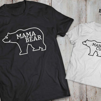 Mama bear man cub mother son matching shirts, Mama bear man cub mother son  matching T-shirts, 100% cotton Tee, UNISEX