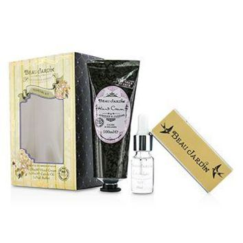 Heathcote & Ivory Beau Jardin Lavender & Jasmine Manicure Kit: Hand Cream 100ml/3.38oz + Cuticle Oil 10ml/0.33oz + Nail Buffer Ladies Fragrance