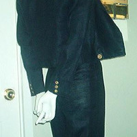 ELLEN TRACY Navy Blue Linen Sailor Pant Suit Size 2