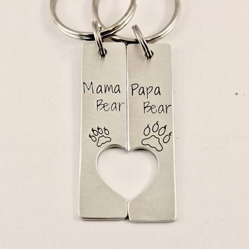 """Mama Bear"" & ""Papa Bear"" - Couples Keychain Set"