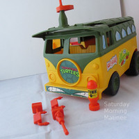 TMNT Party Wagon Van Vintage Toy Playmates 1990s (Incomplete with Some Accessories)