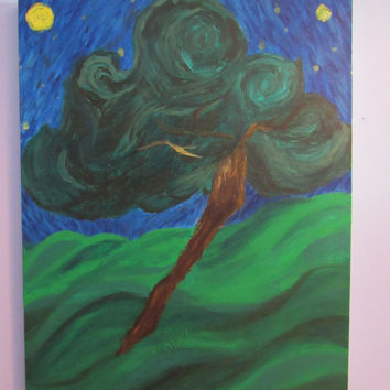 Painting, Van Gogh, Van Gogh Inspired Art, Tree In the Starry Sky, Starry Night, Acrylic Painting, Acrylic, Wall Art, Canvas, Art, Decor