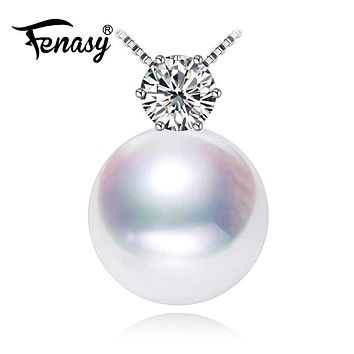 FENASY fashion brand jewelry Fine Jewelry natural stone pendant Freshwater Pearl Necklace 925 sterling silver jewelry Necklace