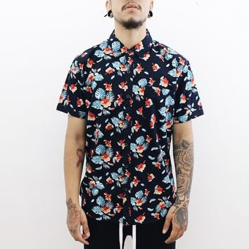 Good Vibes Floral Button Up (Navy/Orange)