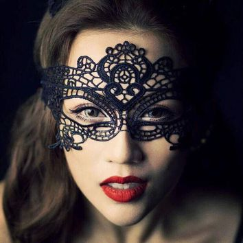 ac PEAPO2Q 1PCS  Black Women Sexy Lace Eye Mask Party Masks For Masquerade Halloween Venetian Costumes Carnival Mask For Anonymous Mardi