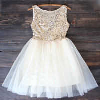 sugar plum gold sequin darling party dress