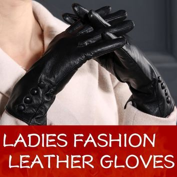 Women Long Wrist Genuine Leather Gloves With Button Detailing