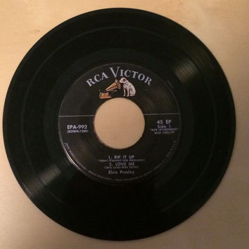 1956 Elvis Presley 7 Inch 45 Record Vinyl Rip It Up Love Me When My Blue Moon Turns To Gold Again Paralyzed RCA G2WH-7210 G2WH-7209