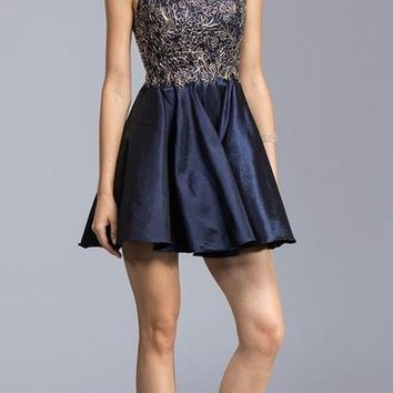 Appliqued Bodice Short Homecoming Dress Navy Blue