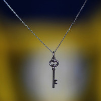 Stunning Lucky Key Small Pendant Necklace 925 Sterling Silver Top Handcraft