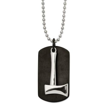 Stainless Steel Brushed and Polished Black IP-plated Axe DogTag Necklace 24in