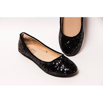 Black Sequin Ballet Flats