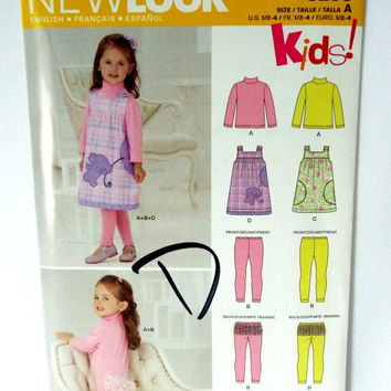 Girls Toddler Play Pants Jumper Dress Sewing Pattern 1 2 3 4 Simplicity New Look 6256 New Uncut