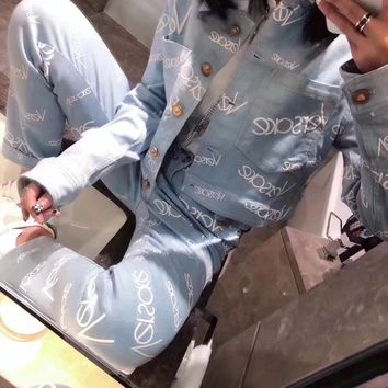 """Versace"" Women Loose Casual Logo Letter Embroidery Long Sleeve Trousers Denim Set Two-Piece Sportswear"