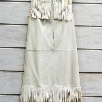 Rare Vintage 1960s White Leather Dress with Fringe 60s Leather Dress Fringed Dress Southwestern Hippie Bride Indian Native American Dress
