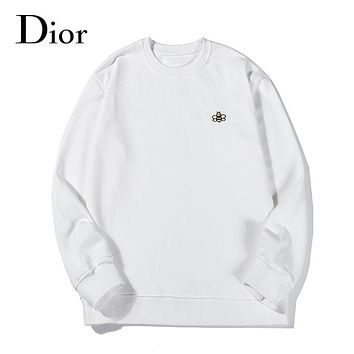 Dior autumn and winter fashion casual high-density embroidery cotton round neck sweater White