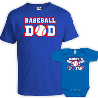 Matching Father And Baby Father And Son Shirt Dad And Daughter Matching Shirts Dad Gifts Baseball Dad Daddy's #1 Fan Bodysuit MAT-718-719