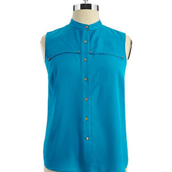 Anne Klein Sleeveless Button-Down Blouse