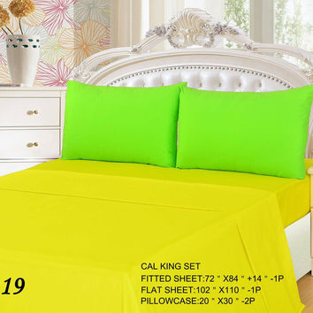 Tache 3 to 4 PC Cotton Solid Lemon Lime Yellow Green Bed Sheet Set