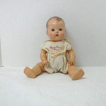 1940-50s Vintage American Character Tiny Tears Doll with Original Onesuit, 12.5 Inch Baby Doll, Painted Hair, Sleep Eyes, Vintage Doll, Toys