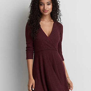 AEO Fit & Flare Wrap Dress, Burgundy