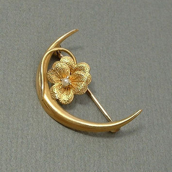 10K GOLD Antique Victorian Brooch CRESCENT Moon Brooch Seed Pearl SHAMROCK Flower Pin c.1890's, Gift for Her
