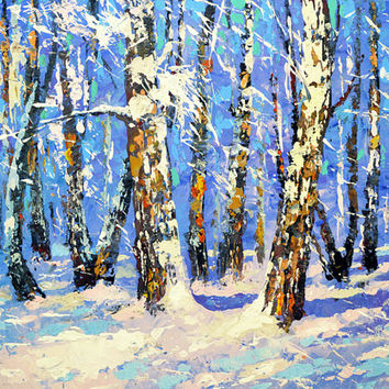 "Birch forest - Palette Knife Oil Painting on Canvas by Dmitry Spiros. Ready to Hang. Size: 32""x24""  (80 x 60 cm)"
