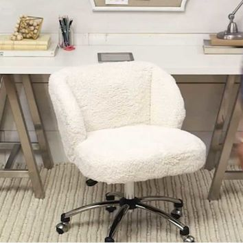 Ivory Sherpa Faux-Fur Wingback Desk Chair